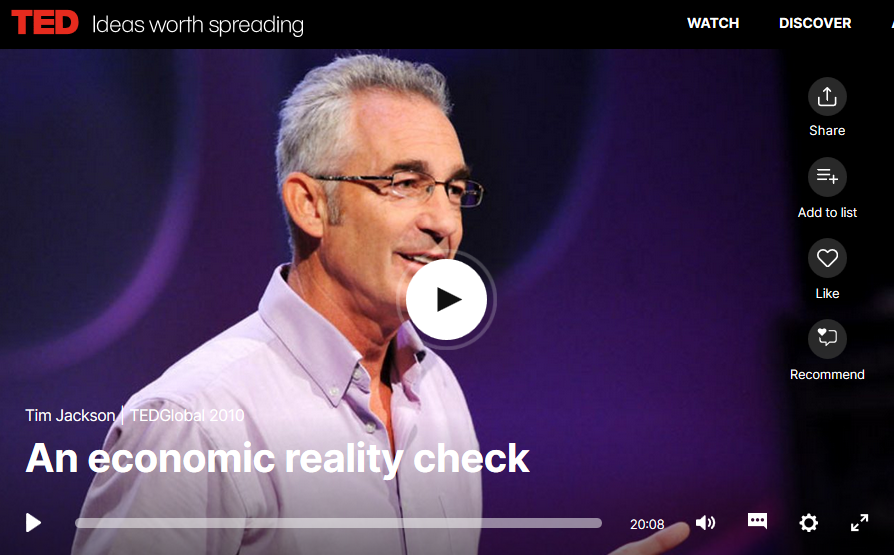 "Tim Jackson auf TED: ""Economic reality check"""